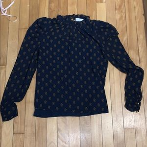 WAYF blue and gold blouse